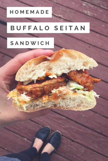 Homemade vegan buffalo seitan sandwich