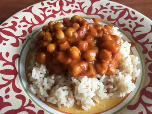 Vegan homemade chickpea curry with basmati rice
